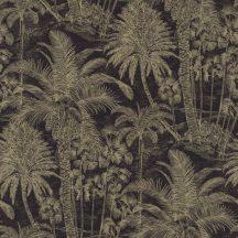 Rasch Denzo II 832525  Natur trópusi magas pálmafák majmokkal fekete bézsarany/arany finom csillogás tapéta