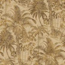 Rasch Denzo II 832532  Natur trópusi magas pálmafák majmokkal homokszín barna aranybarna finom csillogás tapéta