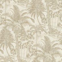 Rasch Denzo II 832549  Natur trópusi magas pálmafák majmokkal krémfehér ezüst bézsarany finom csillogás tapéta