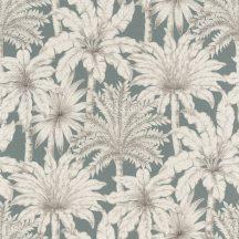 Rasch Denzo II 832723 Natur trópusi pálma motívum finom ceruzarajzolattal kékes szürke krémfehér fekete tapéta