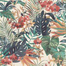 Rasch Denzo II 833126 Natur trópusi egzotikus levelek és virágok krémfehér zöld barna vörös barna tapéta