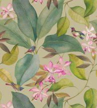 Casadeco Encyclopedia 83351467 PANORAMIQUE EXOTICUS BEIGE Natur természeti kép madárkák zöld levelek rózsaszín virágok falpanel