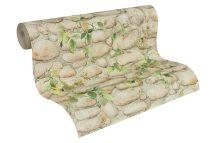As-Creation Dekora Natur 6, 8344-16  borostyános kőminta bézs barna szürke zöld tapéta