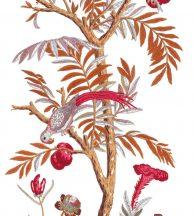 Casadeco Encyclopedia 83538565  PANORAMIQUE ARBORETUM FIG 2ROUGE  Natur magányos fa egzotikus virágokkal fehér szines falpanel