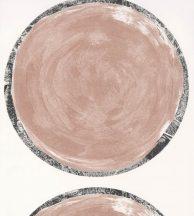 Casadeco Idylle 83814114 VOLTA ROSE NUDE design művészi geometrikus óriás körök fehér szürkés rózsaszín csillogó ezüst szegély tapéta