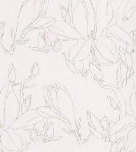 Casadeco Idylle 83821210 MAGNOLIA BEIGE virágos stilizált magnólia gyöngyházfehér bézs szürke tapéta
