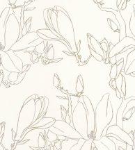 Casadeco Idylle 83822303 MAGNOLIA ARGENT/OR virágos stilizált magnólia krémfehér ezüst arany tapéta