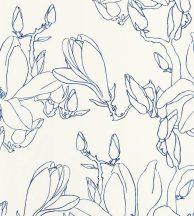 Casadeco Idylle 83826537 MAGNOLIA BLUE virágos stilizált magnólia fehér mélykék tapéta