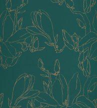 Casadeco Idylle 83827525 MAGNOLIA VERT virágos stilizált magnólia gazdag zöld fémes arany tapéta