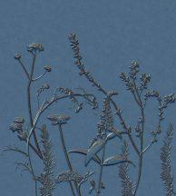 Casadeco Natura 83936484 PANORAMIQUE FIELD Natur Stilizált mezei virágok növények 3D kék árnyalatok barna falpanel