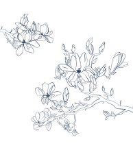 Casadeco Idylle 83960165 PANORAMIQUE BLUE NOIR Natur stilirált festői virágok fehér sötétkék falpanel