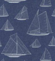 Casadeco Rivage 84020532 ARMADA Natur Grafikus Stilizált vitorlásflotta mint egy műszaki vázlat mély tengerészkék fehér tapéta