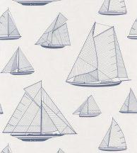 Casadeco Rivage 84026131 ARMADA Natur Grafikus Stilizált vitorlásflotta mint egy műszaki vázlat törtfehér tengerészkék tapéta