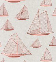 Casadeco Rivage 84028205 ARMADA Natur Grafikus Stilizált vitorlásflotta mint egy műszaki vázlat bézs piros/vörös tapéta