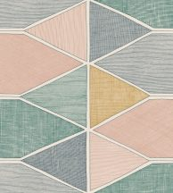 Casadeco Nova 84157434  STELLA COLOR Geometrikus zöld pink sárga fekete fehér tapéta