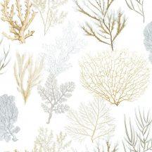 Casadeco Rivage 84202219 TISSU CORAIL Natur Különböző korallfajták megjelenítése törtfehér aranysárga kék zöld szürke dekoranyag