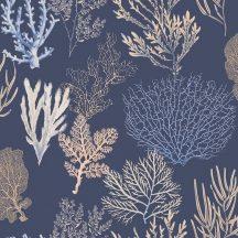 Casadeco Rivage 84206521 TISSU CORAIL Natur Különböző korallfajták megjelenítése mély tengerészkék bézs barna dekoranyag