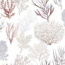Casadeco Rivage 84208318 TISSU CORAIL Natur Különböző korallfajták megjelenítése krémfehér vörös kék pink aranysárga dekoranyag