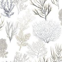 Casadeco Rivage 84209220 TISSU CORAIL Natur Különböző korallfajták megjelenítése krémfehér bézs kék szürke antracit dekoranyag