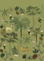 Rasch Bambino XVIII 842142 gyerekminta dzsungel trópusi növények tigris majmok tukán flamingó zöld szines falpanel