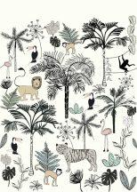 Rasch Bambino XVIII 842173 gyerekminta dzsungel trópusi növények tigris majmok tukán falmingó fehér fekete szines falpanel