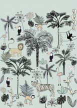 Rasch Bambino XVIII 842197 gyerekminta dzsungel trópusi növények tigris majmok tukán falmingó világos türkiz fekete szines falpanel