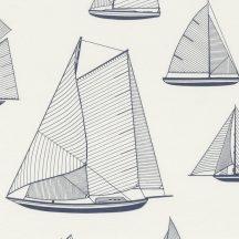 Casadeco Rivage 84246104 TISSU ARMADA Natur Grafikus stilizált vitorlásflotta mint egy műszaki vázlat törtfehér tengerészkék dekoranyag