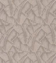 Casadeco Cuba 84321202  SELVA BEIGE Natur texturázott trópusi levelek sötét bézs csillogó fémes fény tapéta
