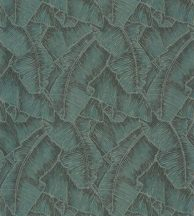 Casadeco Cuba 84327507 SELVA VERT EMERAUDE Natur texturázott trópusi levelek telt smaragdzöld fekete csillogó fémes fény tapéta