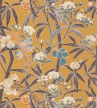 Casadeco Cuba 84332320 HABANA JAUNE Natur egzotikus virágos szőlő aranysárga kék barna szines tapéta