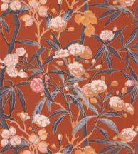 Casadeco Cuba 84333417 HABANA ORANGE  Natur egzotikus virágos szőlő vérnarancs/terrakotta szines tapéta