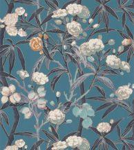 Casadeco Cuba 84336424 HABANA TURQUOISE Natur egzotikus virágos szőlő türkizkékkék sötétszürke fehér szines tapéta