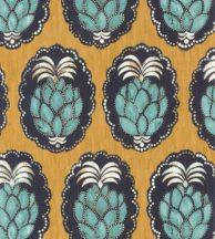 Casadeco Cuba 84352323 PINA JAUNE Natur trópusi dekoratív ananász motívum sárga felete zöld fehér tapéta