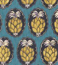 Casadeco Cuba 84356404 PINA TURQUOISE Natur trópusi dekoratív ananász motívum türkiz aranysárga felete fehér tapéta