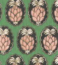 Casadeco Cuba 84357434 PINA VERT Natur trópusi dekoratív ananász motívum friss zöld hús/gyümölcs/szín felete fehér tapéta