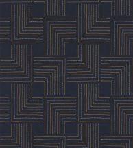 Casadeco Nangara NANG84396533 TINGARI BLEU  NUIT Grafikus pont és vonalmintázat sötétkék fémes arany bézs tapéta