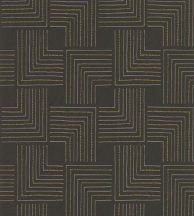 Casadeco Nangara NANG84399231 TINGARI NOIE et JAUNE Grafikus pont és vonalmintázat fekete sárga fémes arany tapéta