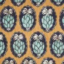 Casadeco Cuba 84472454 TISSU PINA JAUNE Natur trópusi ananász motívum sárga fekete halvány türkiz fehér textil
