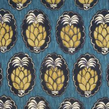 Casadeco Cuba 84476464 TISSU PINA BLEU Natur trópusi ananász motívum kék sárga fekete fehér textil