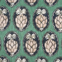 Casadeco Cuba 84477477 TISSU PINA VERT Natur trópusi ananász motívum zöld halvány rózsaszín fekete fehér textil