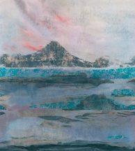 PANORAMIQUE VULCANO BLEU Tengerből kiemelkedő vulkánhegy kék szines falpanel