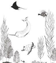 PANORAMIQUE NAUTICS FIG 2 NOIR et BLANC Víz alatti világ fehér fekete falpanel