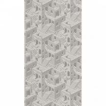 Casadeco Utopia 85110464 ILLUSION BLANC/GRIS Grafikus 3D házak szoros halmaza fehér szürke tapéta