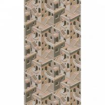Casadeco Utopia 85111237 ILLUSION TAUPE/ROSE Grafikus 3D házak szoros halmaza bézs szürkésbarna roségold tapéta
