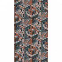 Casadeco Utopia 85113515  ILLUSION BLEU/ROSE/ORANGE Grafikus 3D házak szoros halmaza kék petrolkék narancs roségold tapéta