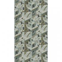 Casadeco Utopia 85117258  ILLUSION VERT/BLEU Grafikus 3D házak szoros halmaza világoskék zöld arany fehér tapéta