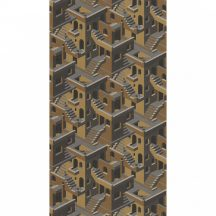 Casadeco Utopia 85119241  OCRE/NOIR Grafikus 3D házak szoros halmaza okkersárga szürke fekete arany tapéta