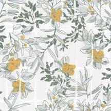 Casadeco Jardins Suspendus 85232241 CAMELIA Natur a Camelia üvegház pompás virágai krémszürke fehér zöld árnyalatok okkersárga tapéta