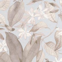 Casadeco Delicacy 85382261 BIRDSONG Natur Énekesmadarak egzotikus leveleken világoskék bézs szürkésbarna tapéta