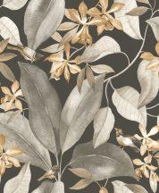 Casadeco Delicacy 85382414 BIRDSONG Natur Énekesmadarak egzotikus leveleken antracit szürkésbézs fehér barna tapéta